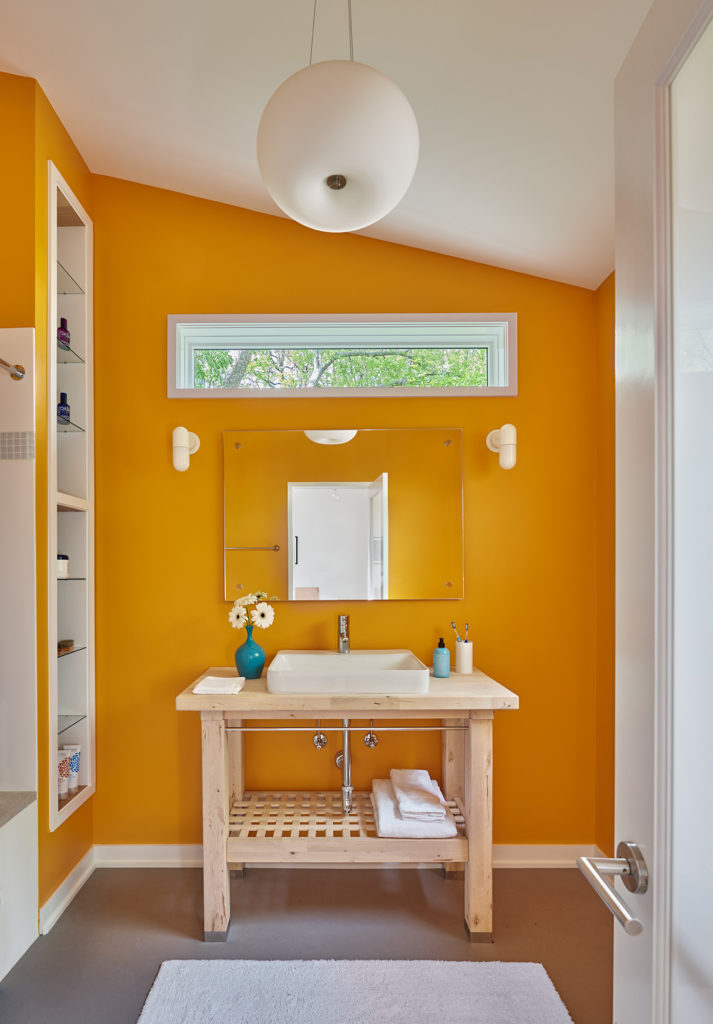 Bathroom addition includes a raw sink vanity transformed from an IKEA kitchen island